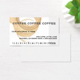 Kaffee-Kaffee-Kaffee-Lochkarte Visitenkarte