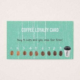 Kaffee-Loyalität kardiert Vintages grünes Holz Visitenkarte
