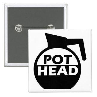 Kaffee-Topf-Kopf-lustiges Knopf-Abzeichen-Koffein Quadratischer Button 5,1 Cm