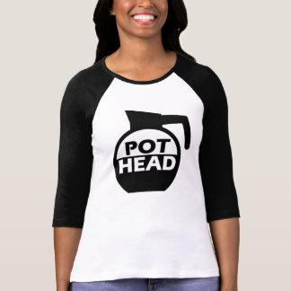 Kaffee-Topf-Kopf-lustiges Koffein-Shirt T-Shirt