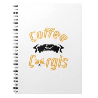 Kaffee-und Corgislustige Corgi-Hundeliebhaber Spiral Notizblock