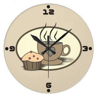 Kaffee-und Muffin-Wanduhr für Kaffee-Liebhaber Große Wanduhr