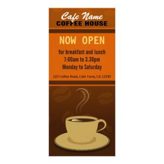 Kaffeestube-Menü-Schalen-orange Brown-Café Werbekarte