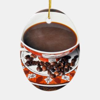 Kaffeetasse im Retrostil - Vintage Ovales Keramik Ornament