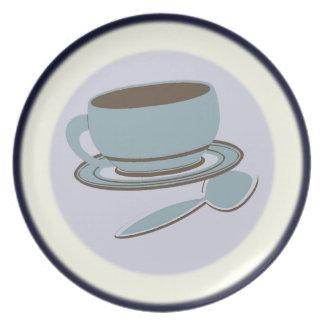 Kaffeetasse u. Löffel Teller