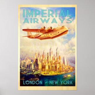 Kaiserfluglinien London u. Vintage Reise New York Poster