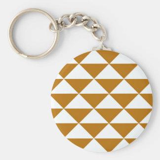 Kakao und weiße Dreiecke Standard Runder Schlüsselanhänger