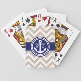 Kakifarbiges Marine-Blau weißes Zickzack Spielkarten