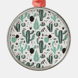 Kakteen Rundes Silberfarbenes Ornament