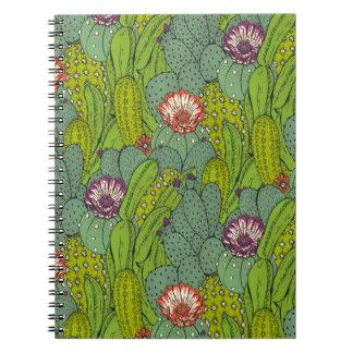 Kaktus-Blumen-Muster-gewundenes Notizbuch Spiral Notizblock