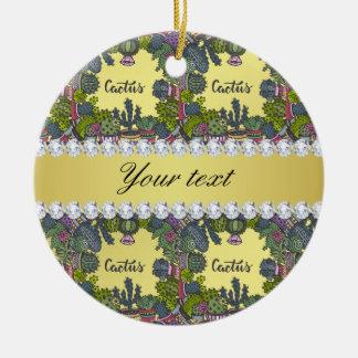 Kaktus-Rahmen-Muster-Imitat-Goldfolie Bling Rundes Keramik Ornament