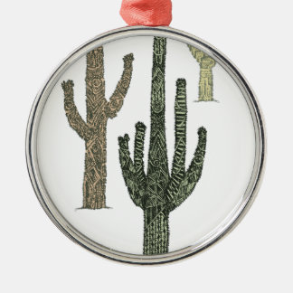 Kaktus Rundes Silberfarbenes Ornament