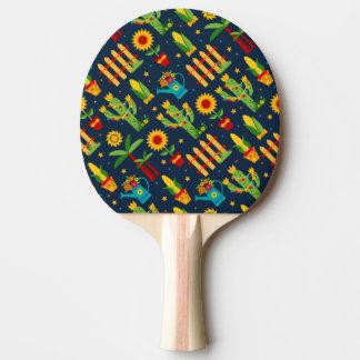 Kaktussonnenblume auf blauem Festa Junina Muster Tischtennis Schläger