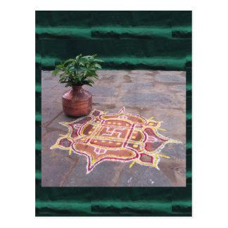 Kalas Vasen-Hakenkreuz rangoli indische Hochzeit Postkarte