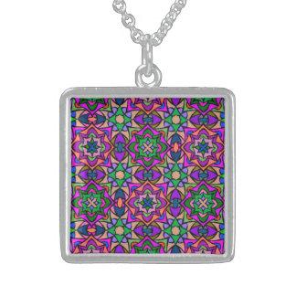 Kaleidoskop-beflecktes Glas-abstrakte Sterling Silberkette