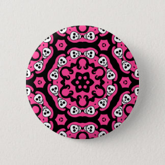 Kaleidoskop des rosa Musters der Schädel Runder Button 5,7 Cm