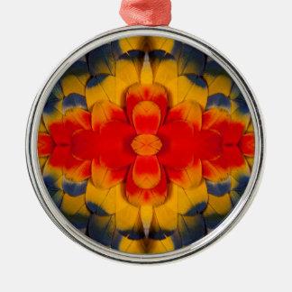 KaleidoskopScharlachrot Macaw-Feder Silbernes Ornament