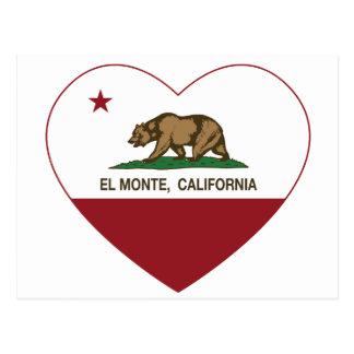 Kalifornien-Flaggen-EL monte heart.png Postkarte