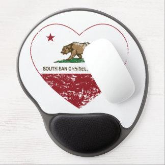 Kalifornien-Flaggensüdgabriel-Herz beunruhigt Gel Mousepad