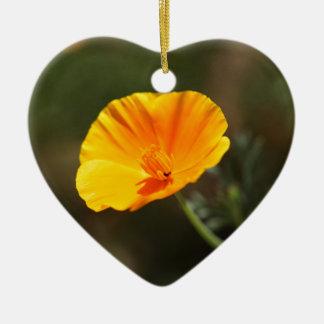 Kalifornien-Mohnblume (Eschscholzia californica) Keramik Herz-Ornament