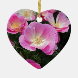 Kalifornien-Mohnblume Keramik Herz-Ornament