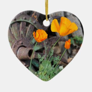 Kalifornien-Mohnblumen Keramik Herz-Ornament