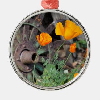 Kalifornien-Mohnblumen Rundes Silberfarbenes Ornament