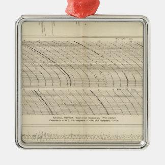 Kalifornien-Seismogramme 13 Quadratisches Silberfarbenes Ornament