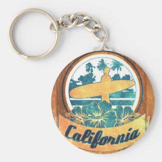 Kalifornien-Surfbrett Standard Runder Schlüsselanhänger