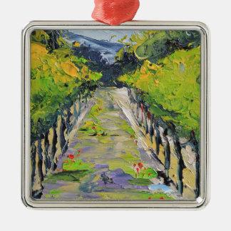 Kalifornien-Weinkellerei, Sommerweinbergreben in Quadratisches Silberfarbenes Ornament