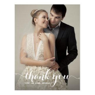 Kalligraphie-Skript-Hochzeit danken Ihnen Postkarten