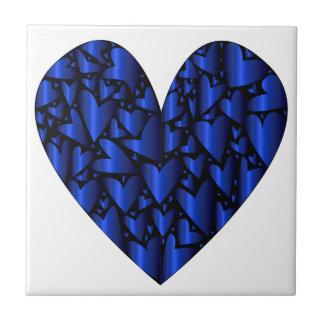 Kaltes blaues Herz Kleine Quadratische Fliese
