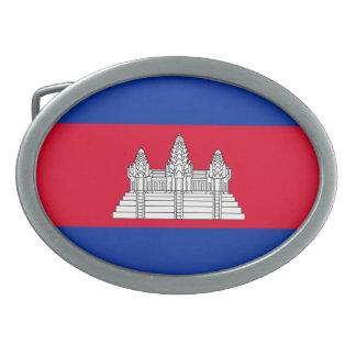 Kambodscha-Flagge Ovale Gürtelschnallen