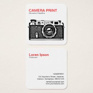 Kamera-Druck - Rot + Schwarzes auf Weiß Quadratische Visitenkarte