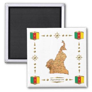 Kamerun-Karte + Flaggen-Magnet Quadratischer Magnet