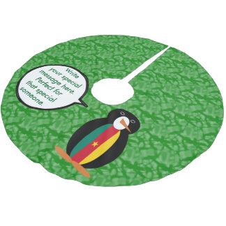 Kamerunischer Feiertags-Herr Penguin Polyester Weihnachtsbaumdecke