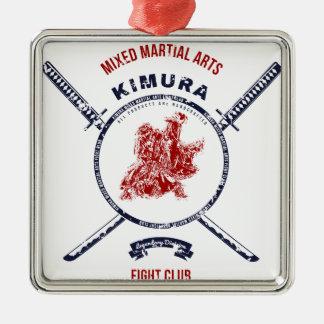 Kampf-VereinGrungedruck mit Samurai-Schwertern Silbernes Ornament