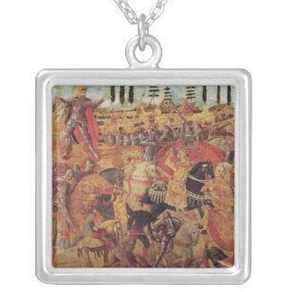 Kampf zwischen Darius und Alexander der Große Halskette Mit Quadratischem Anhänger