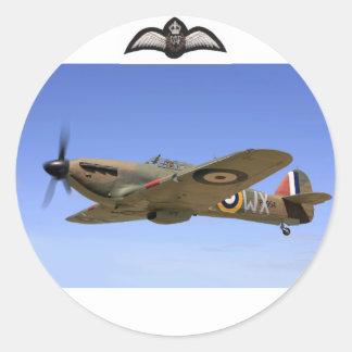 Kämpfer-Flugzeug des Hurrikan-WW2 Runder Aufkleber