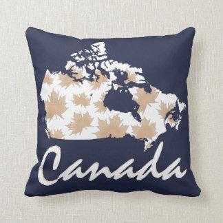 Kanada-Karten-Ahornspaß Taupe-Kissenblau Kissen
