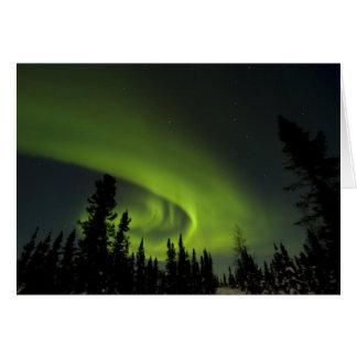 Kanada, Manitoba. Ansicht von Aurora borealis und Karte