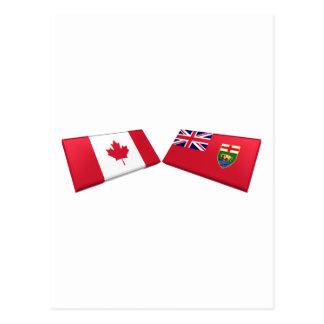 Kanada- u. Manitoba-Flaggen-Fliesen Postkarte