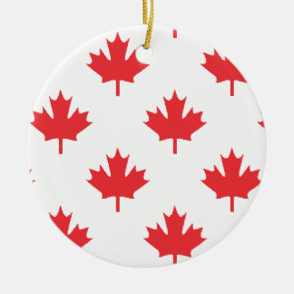 Kanada-Weiß mit Rotahorn-Blatt Keramik Ornament
