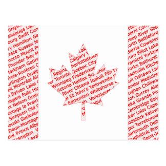 Kanadische Flagge mit Großstadt und Stadt nennt Postkarte