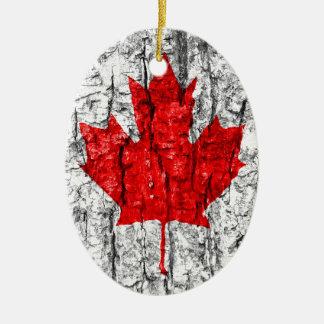Kanadische Flaggen-Baumrinde Keramik Ornament