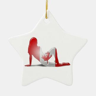 Kanadische Mädchen-Silhouette-Flagge Keramik Stern-Ornament