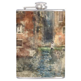 Kanäle von Aquarell Venedigs Italien Flachmann