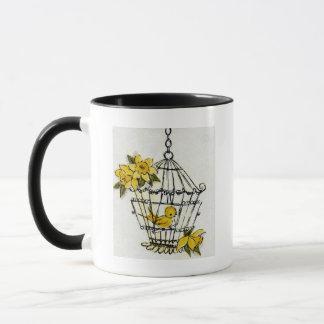 Kanarienvogel und Dafodills Tasse