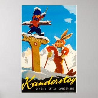 Kandersteg die Schweiz Vintages Reise-Ski-Plakat Poster