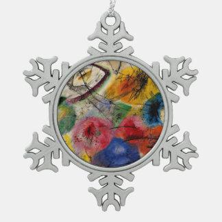 Kandinsky - schwarze Linien Schneeflocken Zinn-Ornament